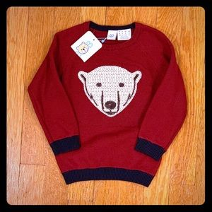 Burgundy sweater w/ silver sequin bear 18M